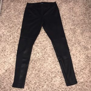 Express Faux Leather Leggings with Mesh Inset